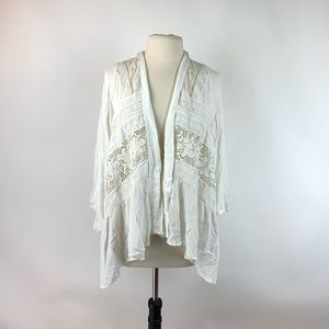 Anthropologie Elevenses White Open Eyelet Sweater